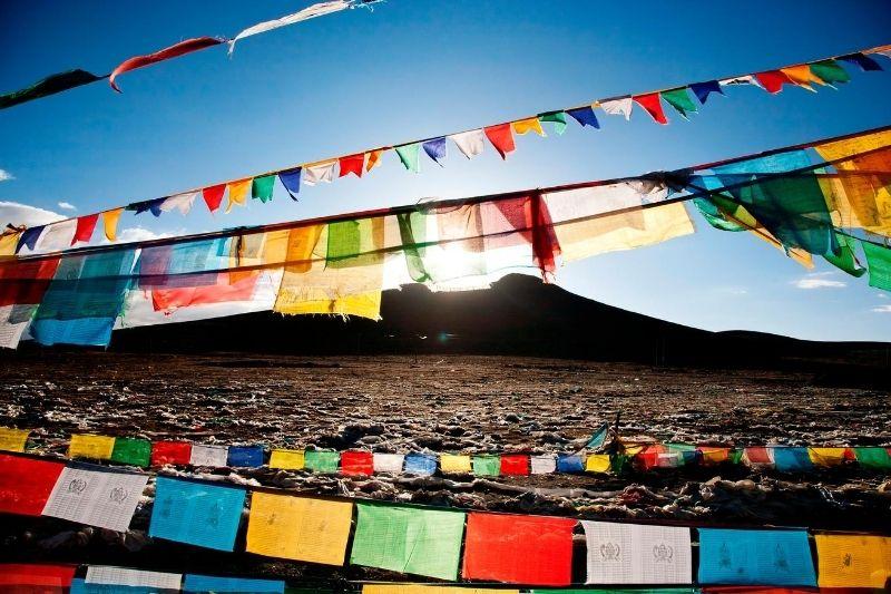 Telas de colores tibetanas