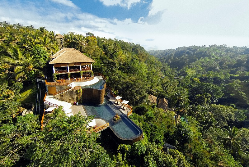 Vista aérea del hotel hangings hotel ubud of bali