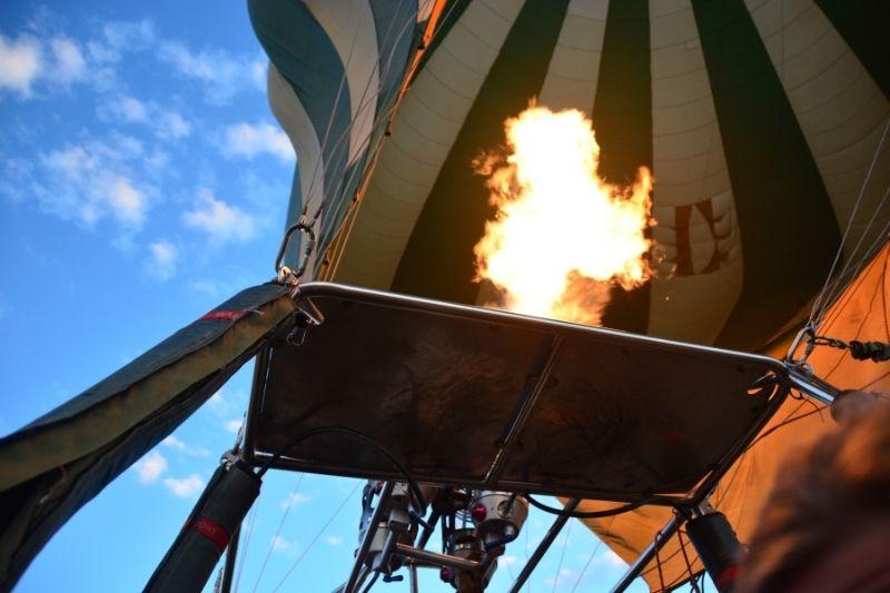 Fuego en globo aerostático