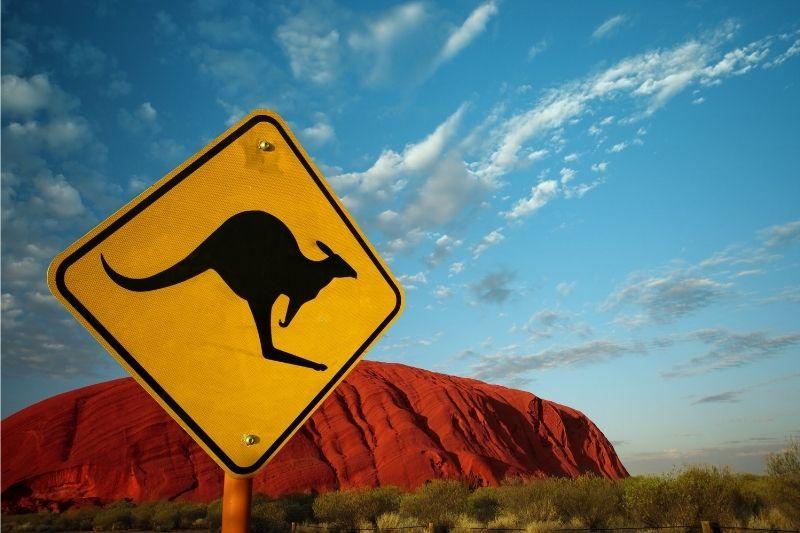 Señal de canguros en Uluru