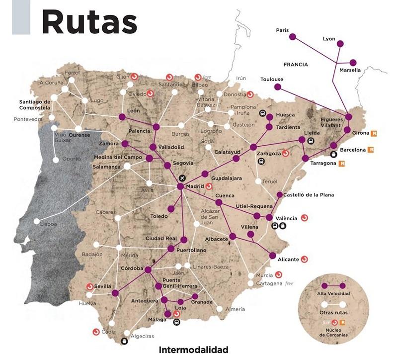 Mapa de trenes regionales en España
